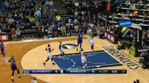 Andrew Wiggins gets the steal, and on the other end feeds Corey Brewer for the slam on the break.