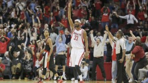 Nov 18, 2015; Houston, TX, USA; Houston Rockets guard Corey Brewer (33) reacts after hitting a three point basket to tie the game in regulation against the Portland Trail Blazers in the fourth quarter at Toyota Center. The Rockets won in overtime 108-103. Mandatory Credit: Thomas B. Shea-USA TODAY Sports ORG XMIT: USATSI-231634 ORIG FILE ID:  20151118_gma_sy9_177.jpg