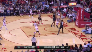 Corey Brewer with the wild lay in plus the foul as the Rockets beat the Raptors 112-109.